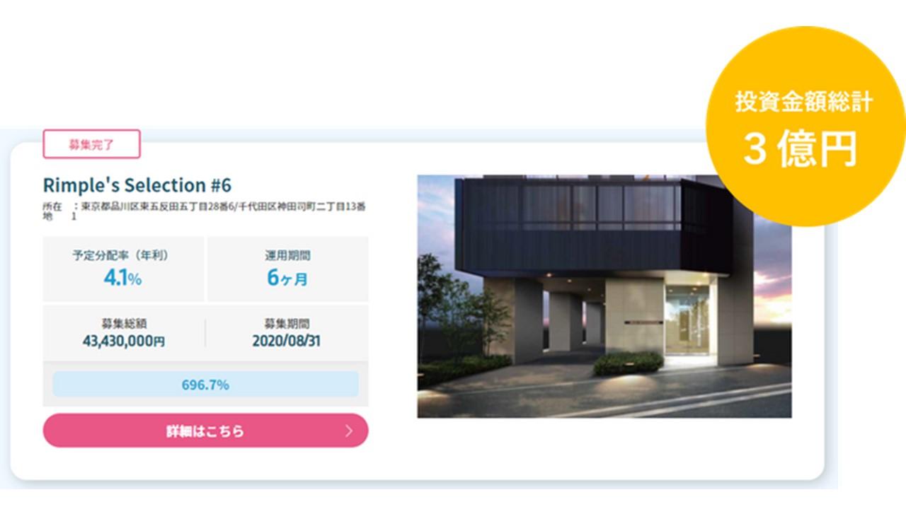 Rimple's Selection#6募集総額約700%の3億円の応募
